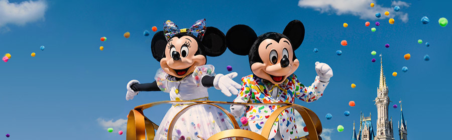 Minnie and Mickey Mouse at the Magic Kingdom parade