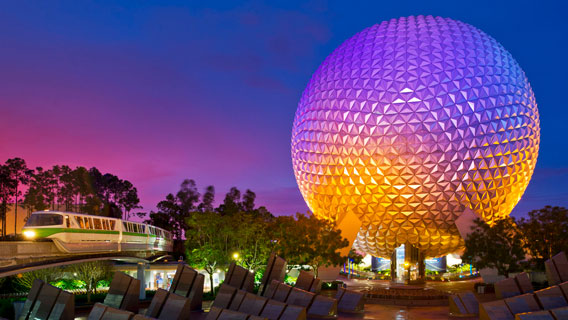Spaceship Earth in Epcot by night