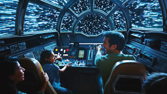 Guests on Millennium Falcon: Smugglers Run at Disney's Hollywood Studios