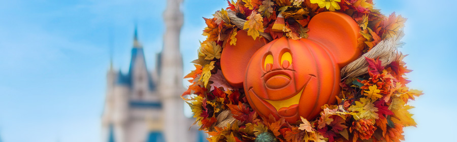 Mickey Pumpkin decoration in Main Street USA at Disney's Magic Kingdom Theme Park